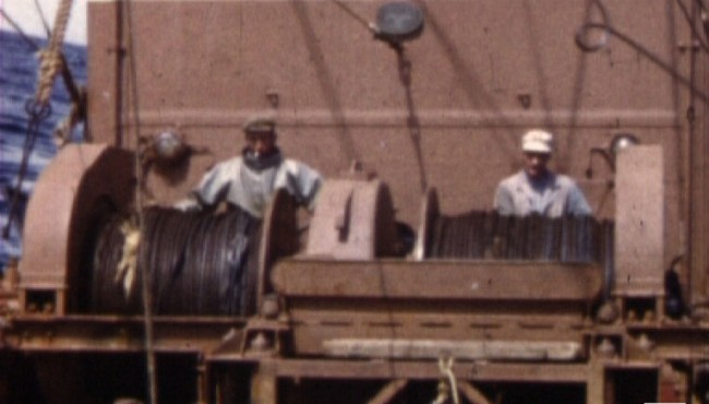 Photogramme extrait du film amateur A bord de l'Edmond René de Alain Mathieu, 1961, 8mm © NORMANDIE IMAGES
